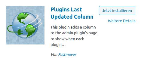 Plugins Last Updated Colume
