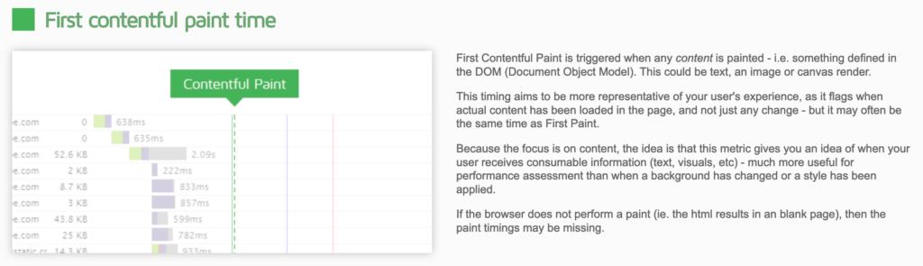 gtmetrix first contentful paint time