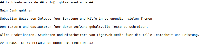 humans txt von Lightweb Media