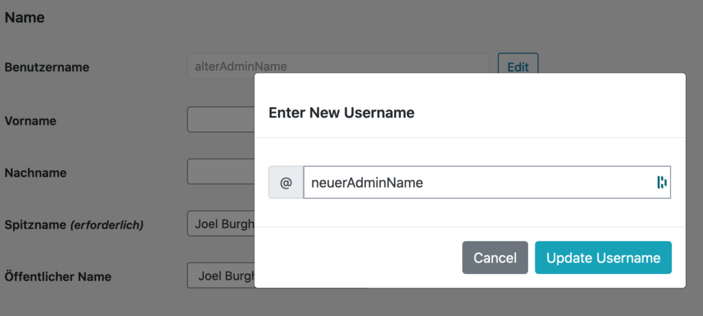 popup Username Changer