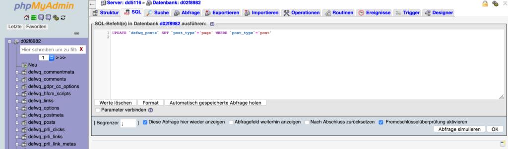 PHPmyAdmin Update SQL