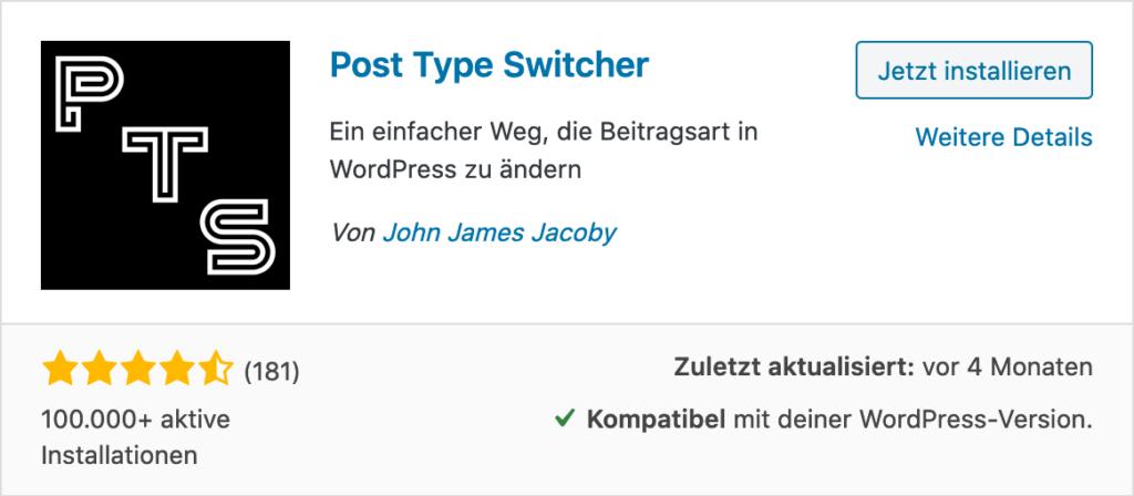 Wordpress Post Type Switcher Plugin