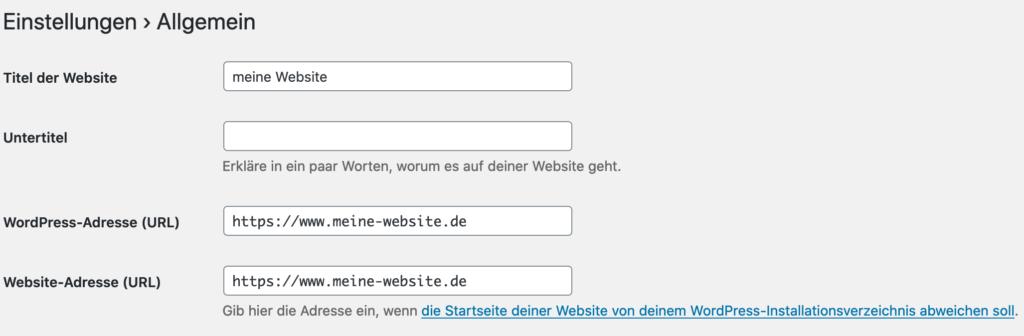 Wp Einstellungen Website und WordPress Adresse