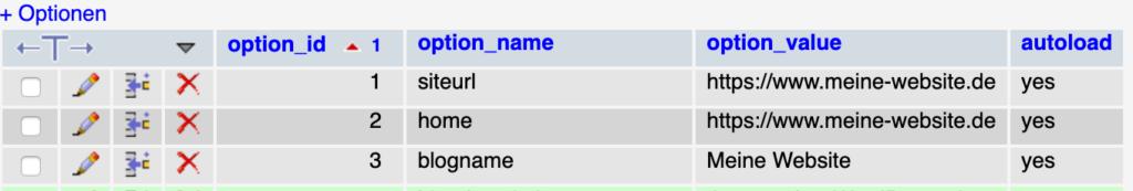 Wp Site URL Home URL in der Datenbank aendern