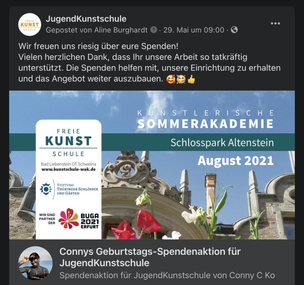 Kunstschule promoted Connys Aktion