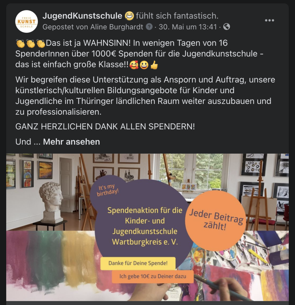 Kunstschule promoted mich