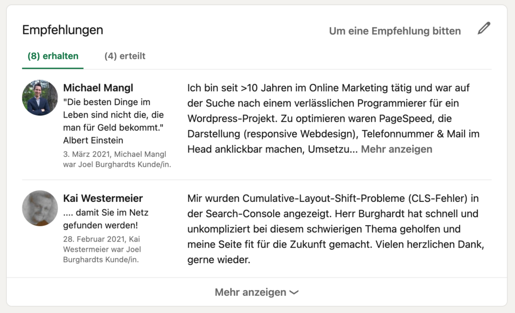 LinkedIn Bewertung